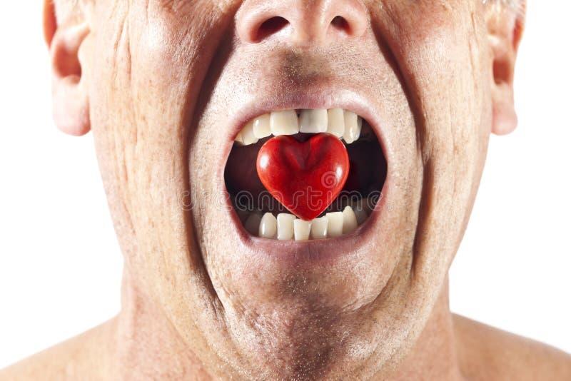 Ódio do amor da boca do coração fotos de stock royalty free