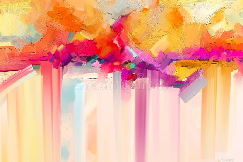 Óleo colorido abstrato, curso da escova de pintura acrílica na textura da lona Imagem semi abstrata do fundo da pintura de paisag ilustração stock