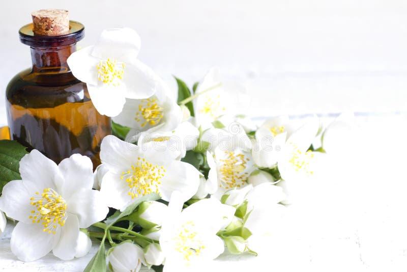 Óleo da aromaterapia do jasmim nas pranchas brancas com flores imagens de stock royalty free