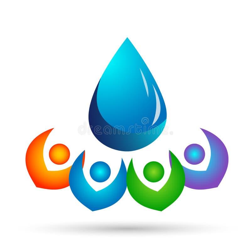 Óleo da natureza dos povos do cuidado da mão do logotipo da gota da água saudável e projeto do símbolo da água no fundo branco ilustração royalty free