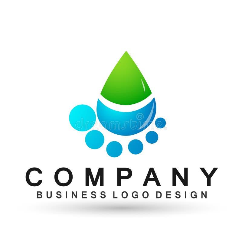 Óleo da natureza dos povos do cuidado da mão do logotipo da gota da água saudável e projeto do símbolo da água no fundo branco ilustração do vetor