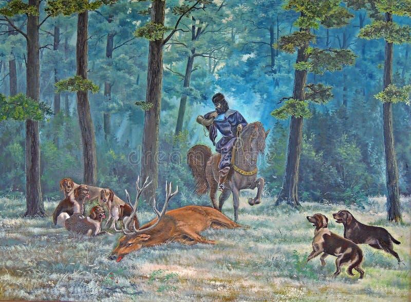 Óleo da pintura Caça para um cervo com cães em um bosque do carvalho ilustração do vetor