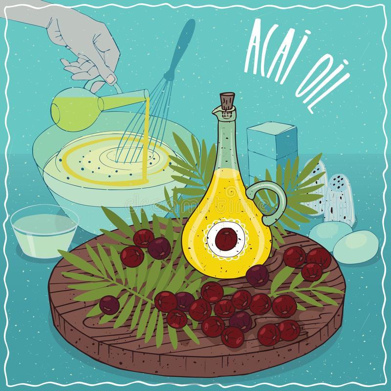 Óleo de Acai usado cozinhando ilustração do vetor