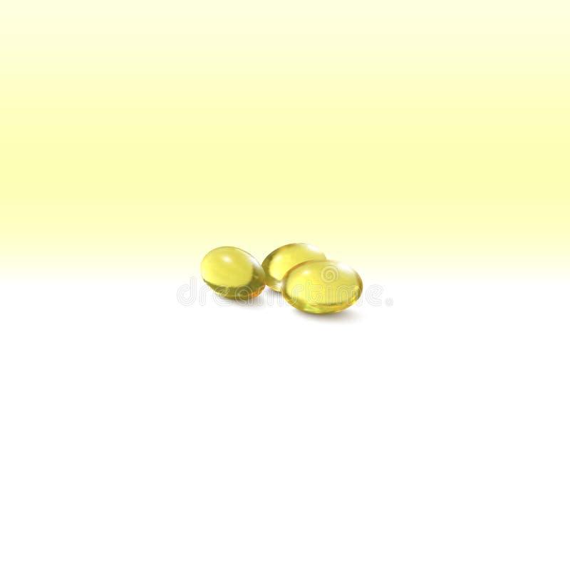 Óleo de peixes, comprimidos isolados no fundo amarelo, ilustração do vetor ilustração do vetor