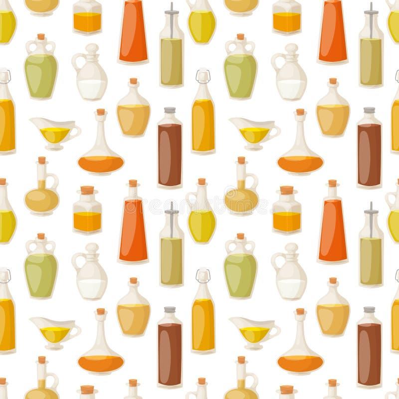 Óleo diferente do alimento da ilustração saudável orgânica virgem natural líquida do vetor do recipiente das garrafas no teste pa ilustração stock