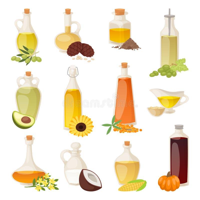 Óleo diferente do alimento em umas garrafas isoladas no branco com cozimento do líquido transparente e de orgânico natural, veget ilustração stock