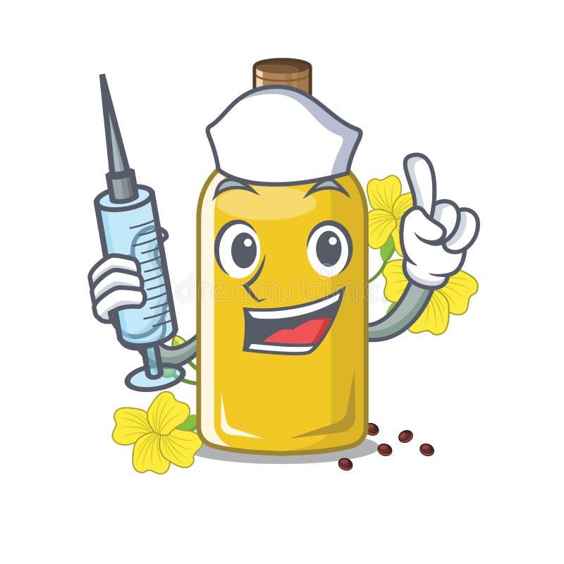 Óleo do canola da enfermeira na forma da mascote ilustração stock