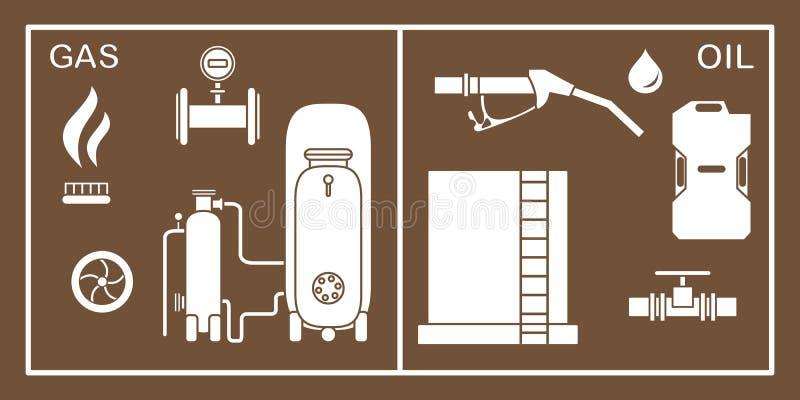 Óleo, equipamento da indústria do gás Extração, armazenamento ilustração do vetor