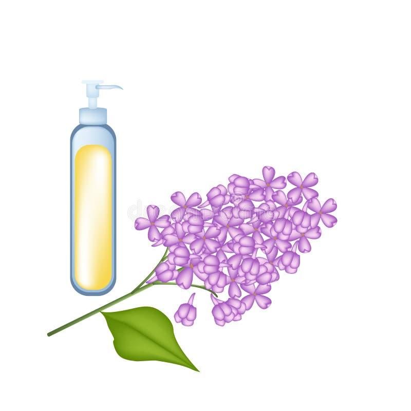 Óleo essencial com o lilás roxo no fundo branco ilustração do vetor