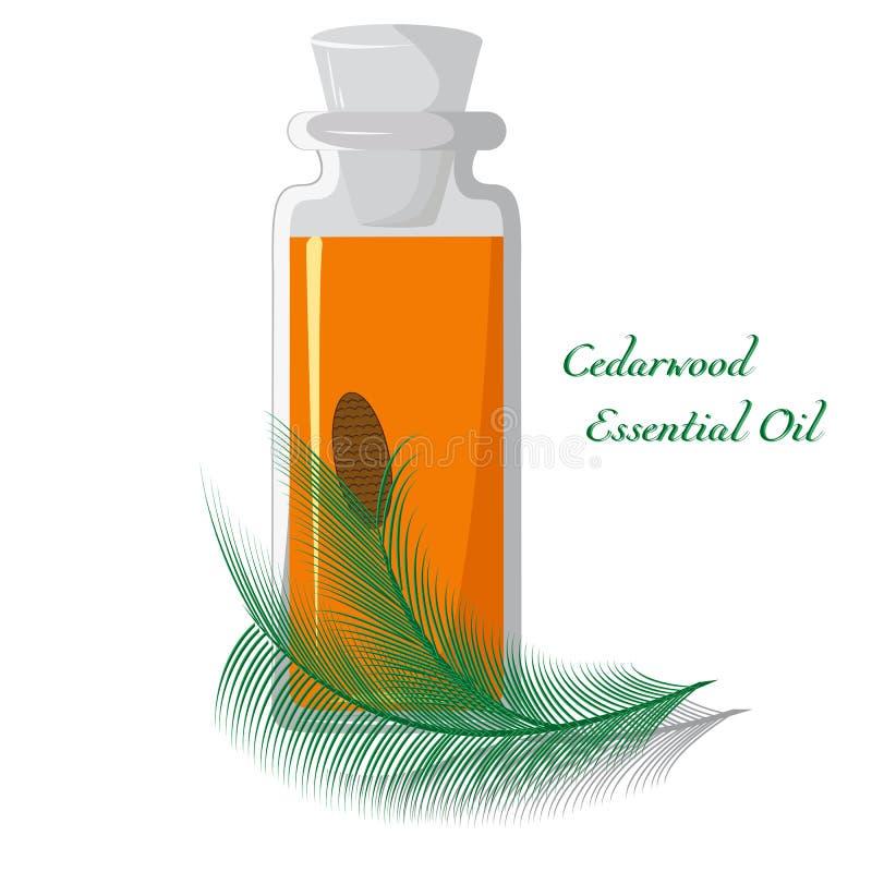 Óleo essencial de Cedarwood ilustração stock