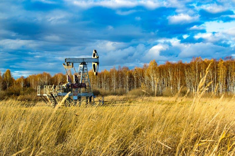 Óleo que balança no campo na queda Rússia República de Bashkortostan Rosneft, Bashneft fotografia de stock royalty free