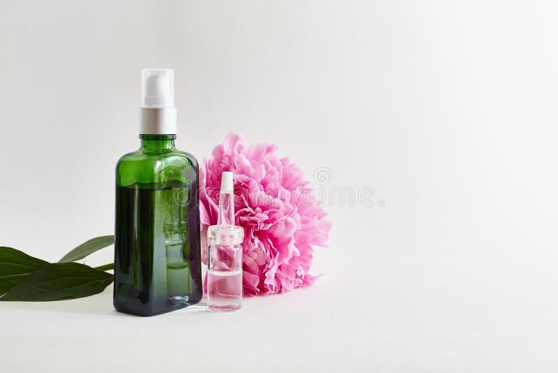 Óleos do corpo aromáticos, flores Lugar para o texto imagens de stock royalty free