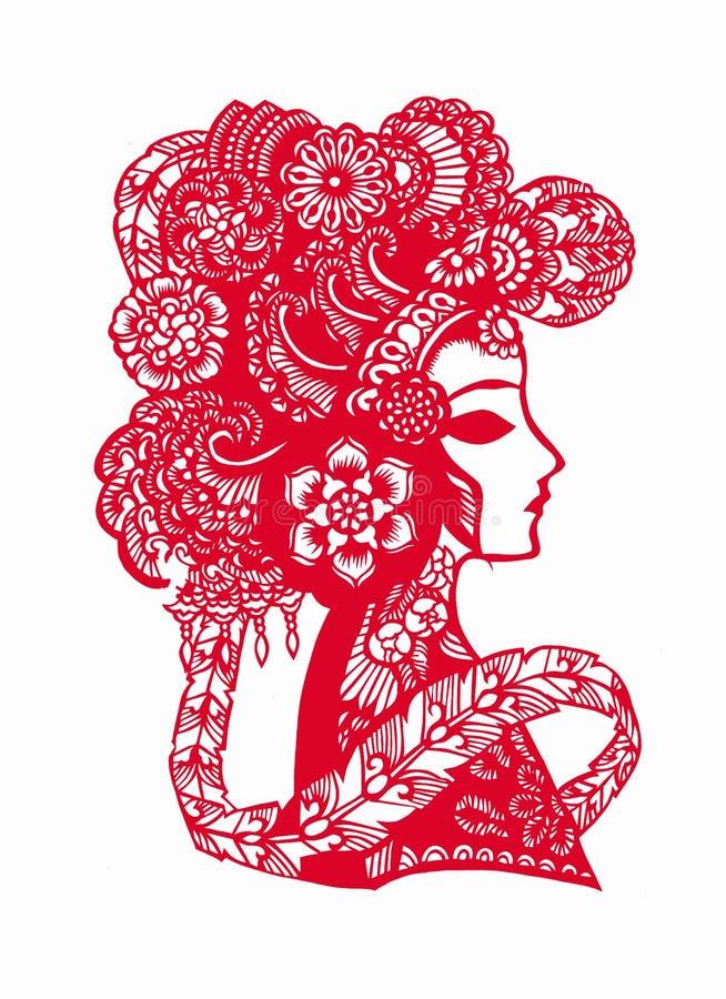 A ópera de Peking chinesa papel-cortou ilustração stock
