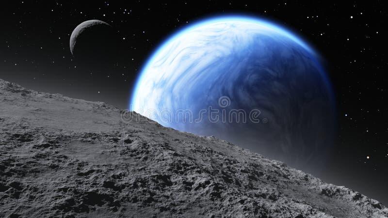 Órbita de duas luas Terra-como o planeta ilustração stock