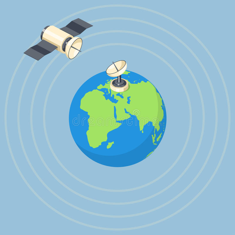Órbita e satélite do prato no planeta da terra ilustração do vetor