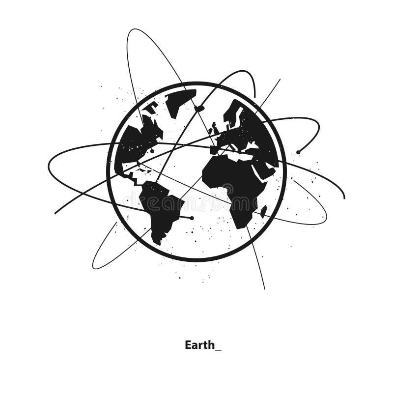 Órbitas de la tierra y del satélite stock de ilustración