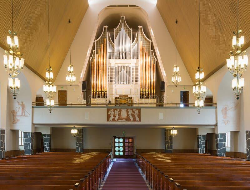 Órgão da igreja de Rovaniemi imagens de stock