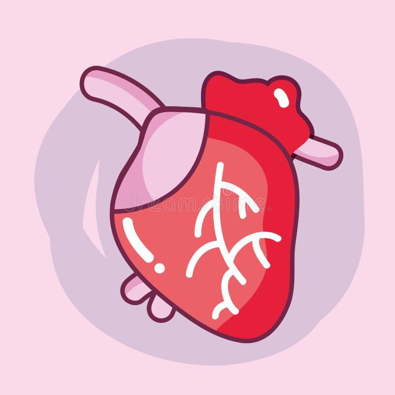 Órgão do coração com circulação sanguínea para as veias ilustração do vetor
