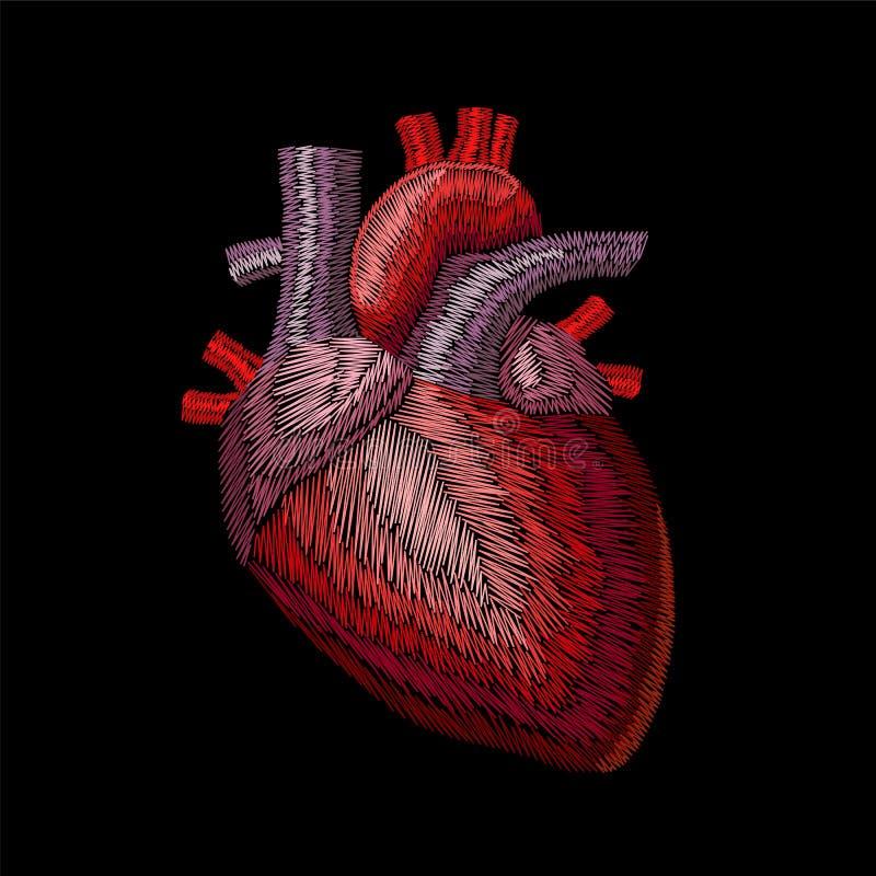 Órgano anatómico humano de la medicina del corazón de la lana para bordar del bordado La puntada roja bordó el remiendo detallado stock de ilustración