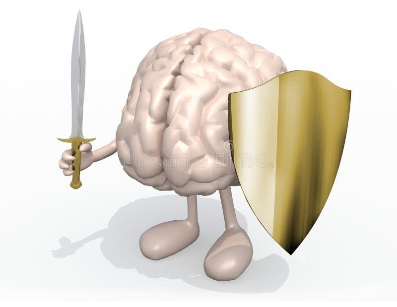 Órgano del cerebro con la espada y el escudo stock de ilustración