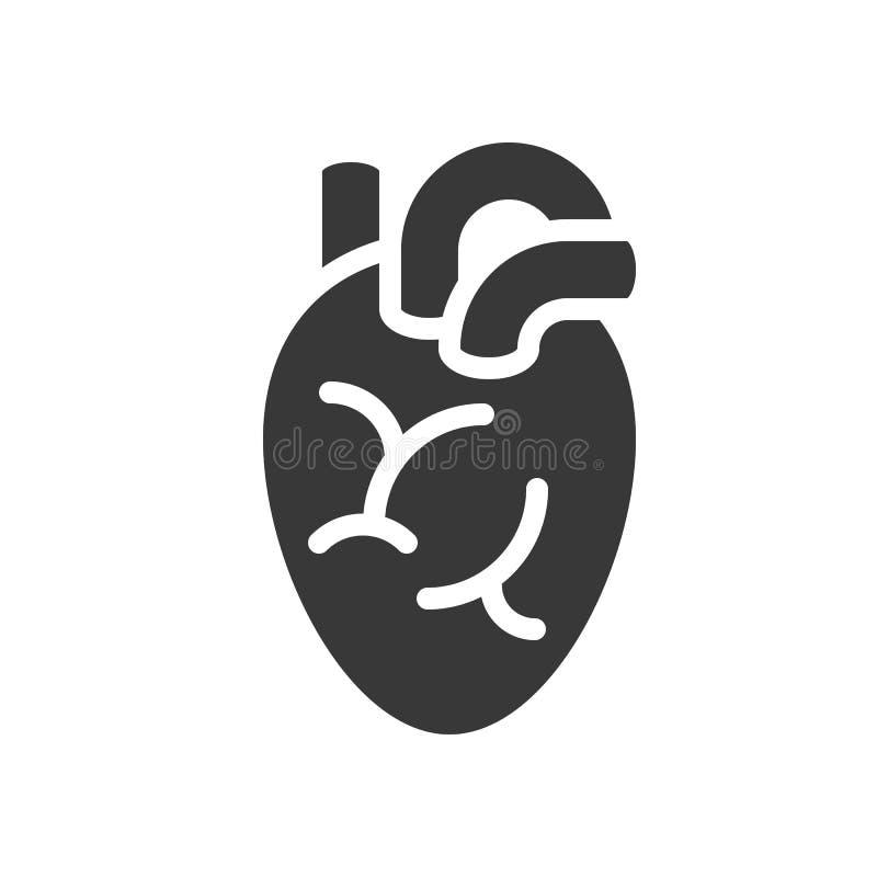 Órgano del corazón, atención sanitaria e icono sólido relacionado médico libre illustration