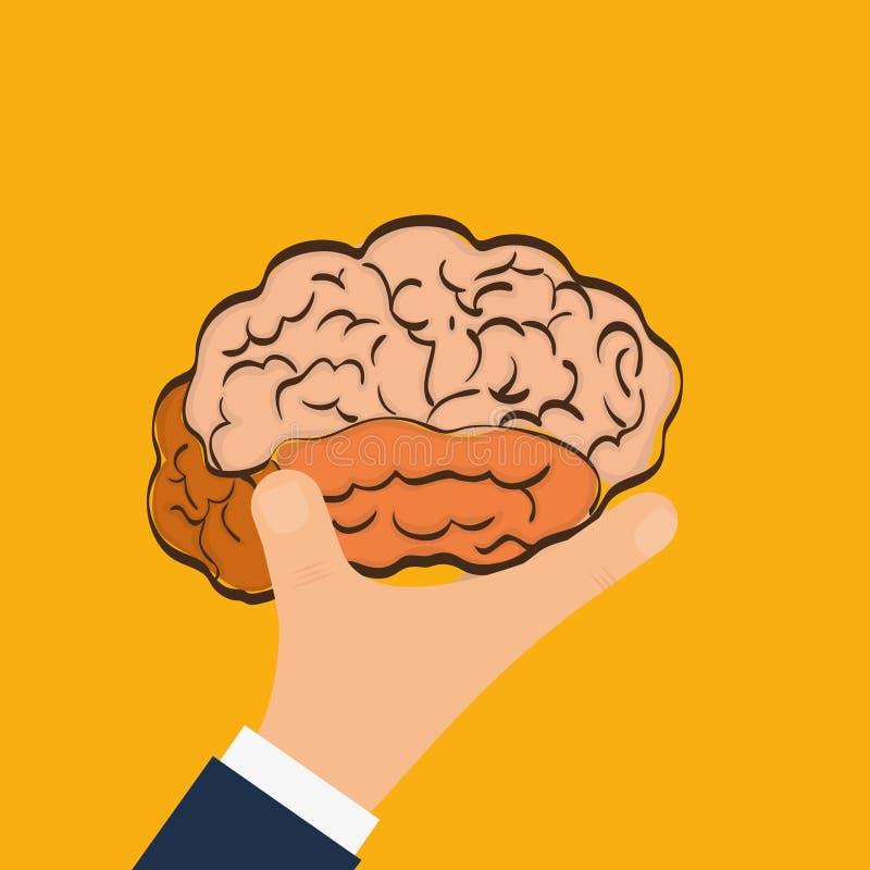Órgano Humano Icono Del Cerebro Y De La Mano Gráfico De Vector ...