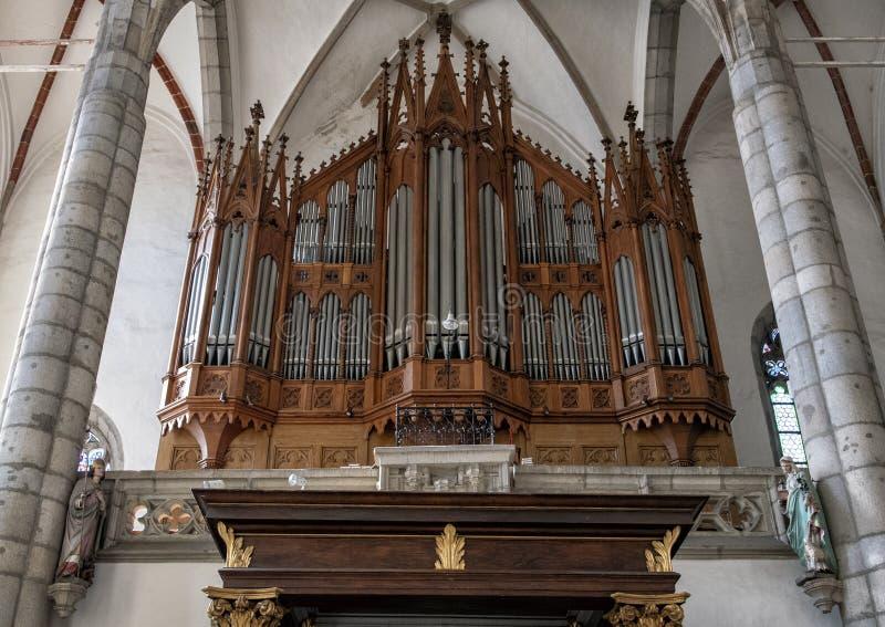 Órgano principal, iglesia del santo Vitus, Cesky Krumlov, República Checa fotos de archivo libres de regalías