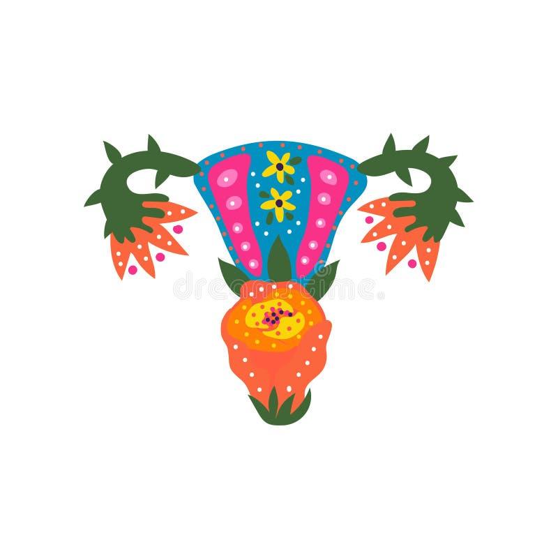 Órganos femeninos del útero y de la matriz hechos de las flores florecientes, ejemplo del vector de la salud reproductiva de la m stock de ilustración