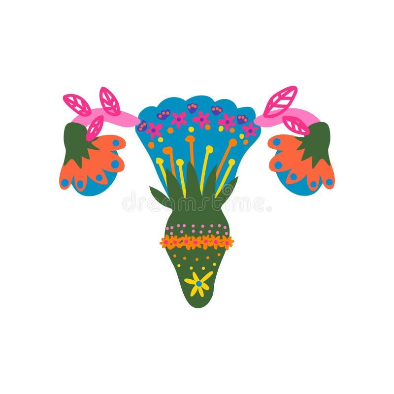 Órganos reproductivos femeninos hechos del ejemplo floreciente colorido del vector de las flores, de la salud de la mujer, del út stock de ilustración