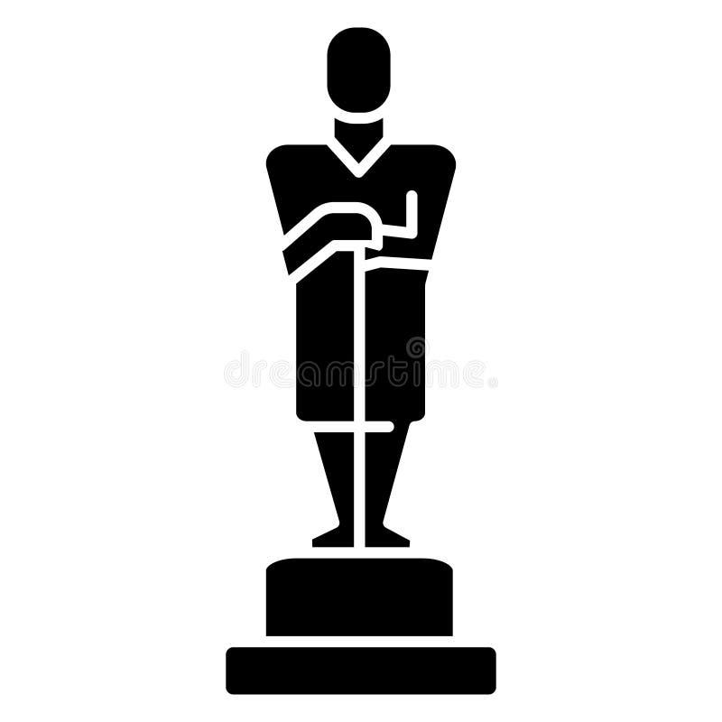 Óscar - icono del trofeo, ejemplo del vector, muestra negra en fondo aislado libre illustration