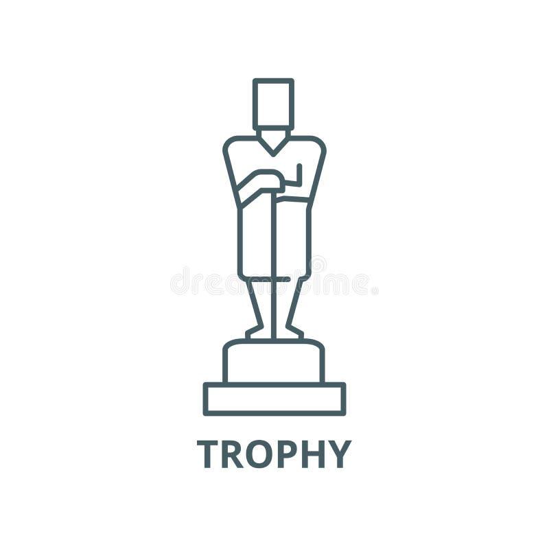 Óscar, línea icono, concepto linear, muestra del esquema, símbolo del vector del trofeo stock de ilustración