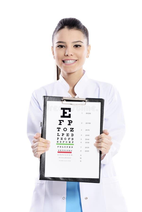 Ótico ou optometrista da mulher imagem de stock