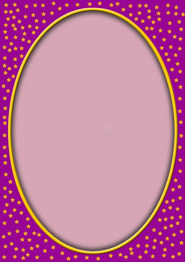 Óvalo del color de rosa con las estrellas alrededor stock de ilustración