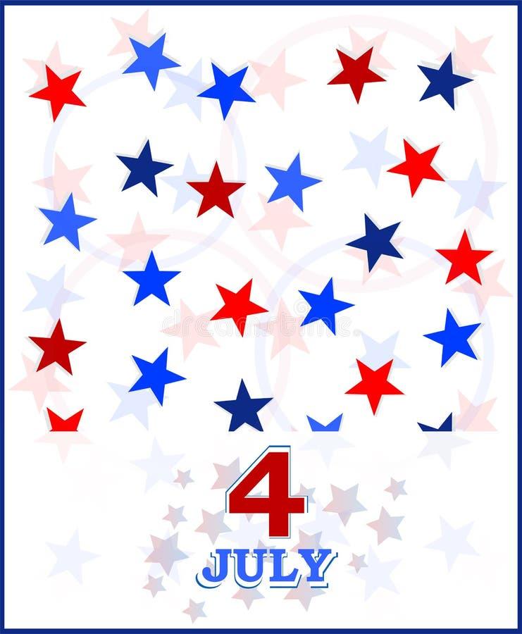 ô do cartão do vetor de julho. tema dos EUA ilustração do vetor
