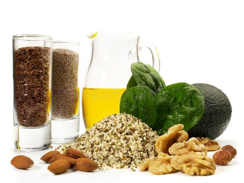 Ômega 3 alimentos do vegetariano - nutrição saudável imagem de stock