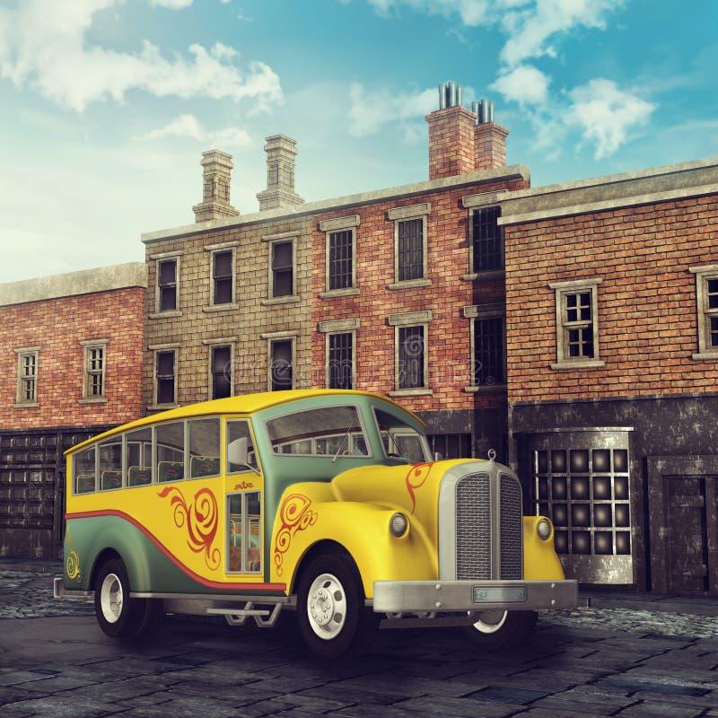 Ônibus amarelo em uma rua vitoriano ilustração do vetor