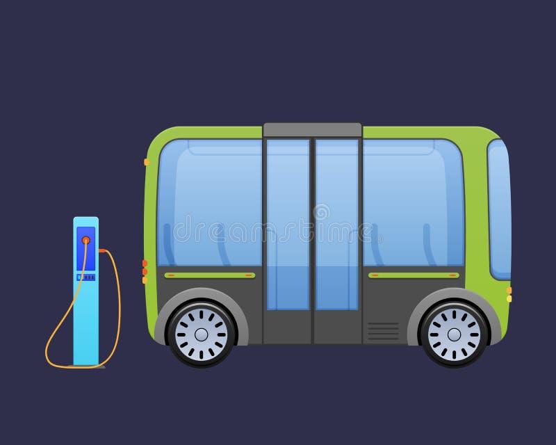 Ônibus bonde bonito de multi-Seat, autobus perto do ` s da cidade que carrega a estação elétrica ilustração royalty free