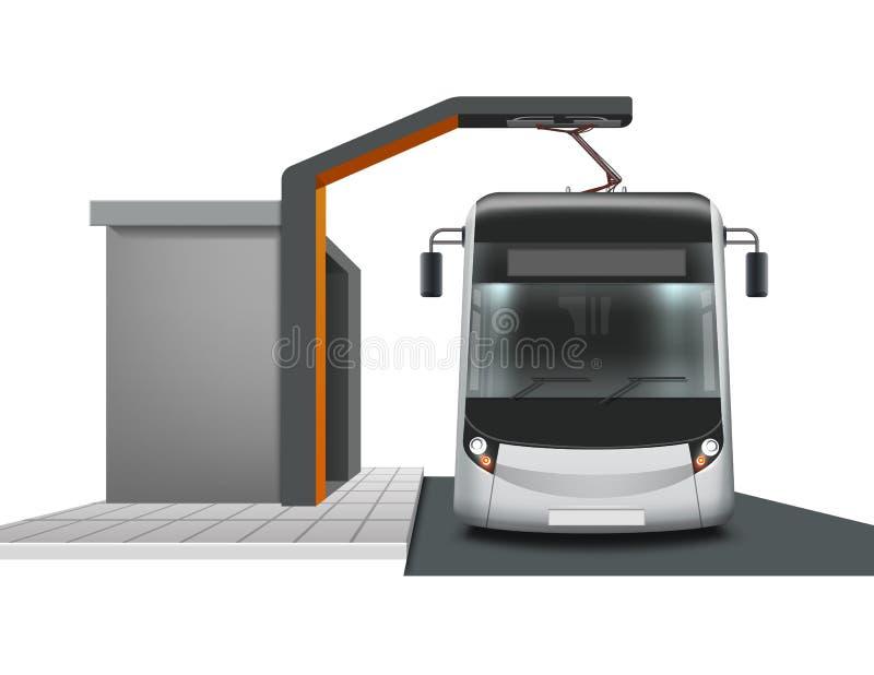 Ônibus bonde no carregamento ilustração royalty free