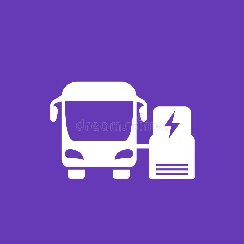 Ônibus bonde que carrega no ícone da estação ilustração royalty free