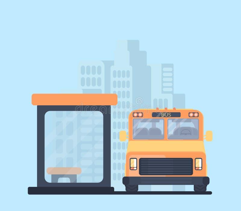 Ônibus da cidade com parada do ônibus Série do auto escolar - 1 Veículo para passageiros do transporte Fundo urbano ilustração stock