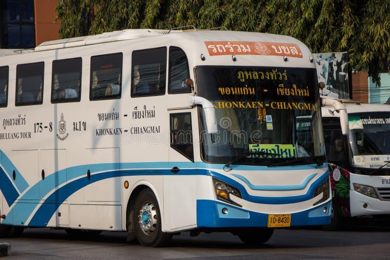 Ônibus da empresa da excursão de Phuluang rota Khonkaen e Chiangmai fotos de stock royalty free