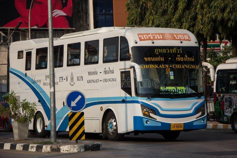 Ônibus da empresa da excursão de Phuluang rota Khonkaen e Chiangmai fotos de stock