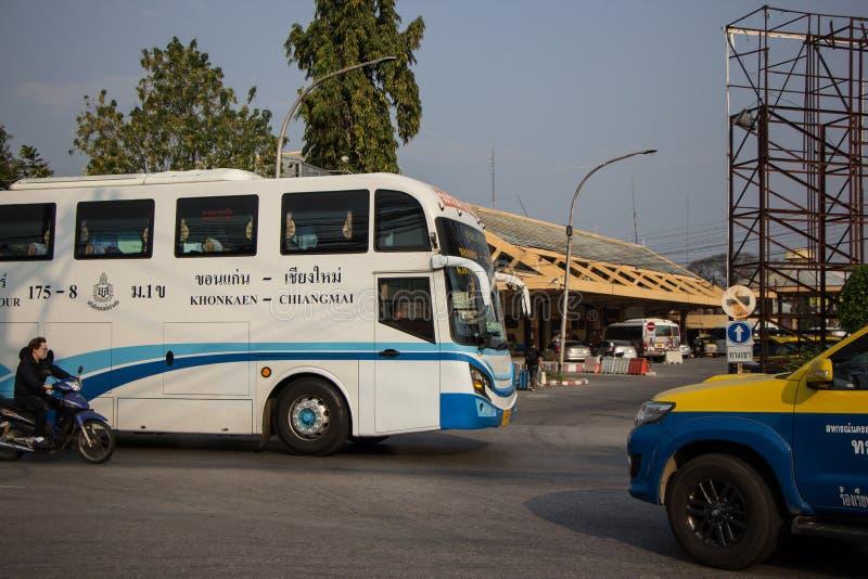 Ônibus da empresa da excursão de Phuluang rota Khonkaen e Chiangmai imagem de stock