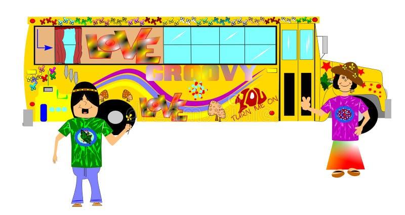Ônibus da hippie ilustração royalty free