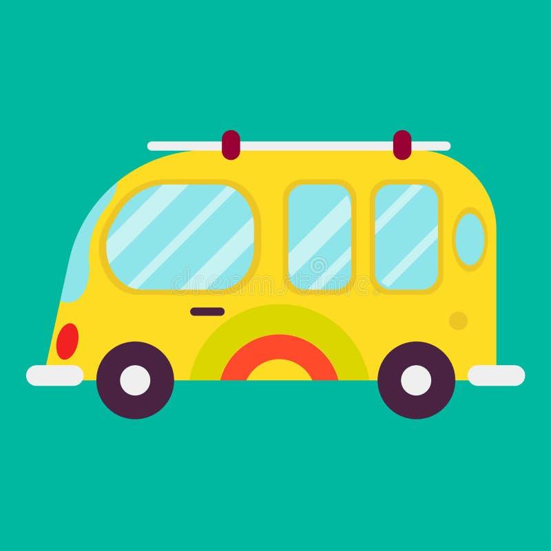 Ônibus da hippie isolado no cartaz verde do gráfico do fundo ilustração do vetor