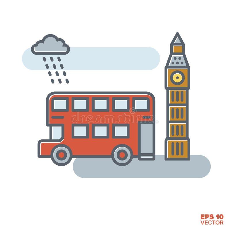 Ônibus de doubledecker de Londres e de vetor de Big Ben ilustração ilustração royalty free