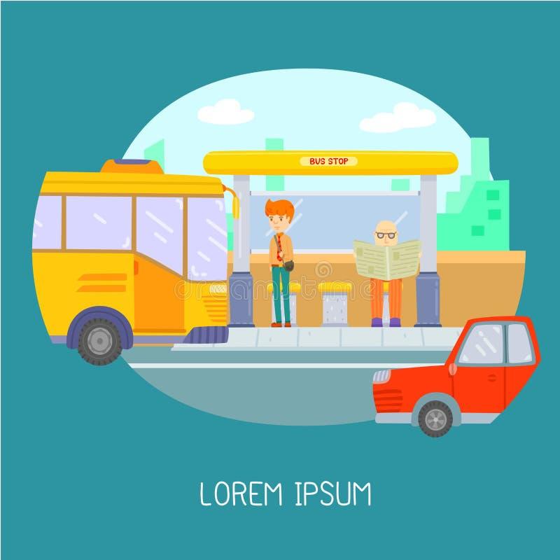 Ônibus de espera do homem na parada do ônibus ilustração royalty free