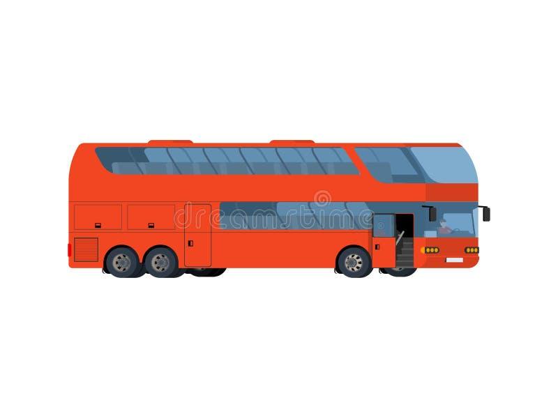 Ônibus de excursão grande do treinador vermelho do ônibus de dois andares ilustração stock