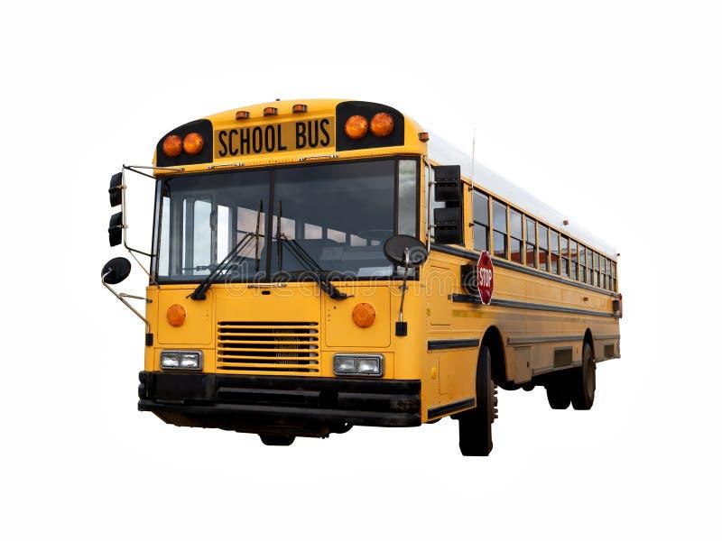 Ônibus de velha escola isolado com trajeto de grampeamento fotos de stock royalty free