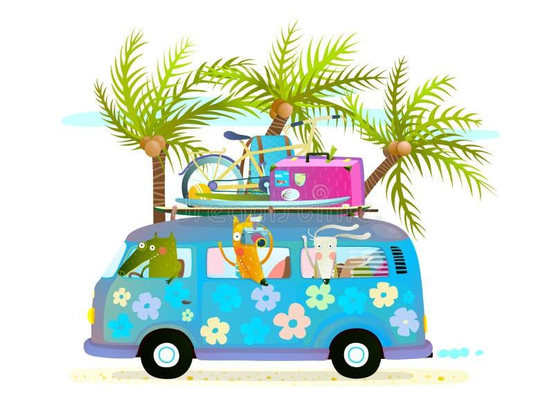 Ônibus do verão do feriado com os animais e as palmas tropicais do bebê dos turistas das férias da praia ilustração stock